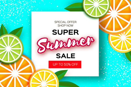 Lemon, lime, orange. Citrus Super Summer Sale Banner in paper cut style. Origami juicy ripe slices. Leaves. Healthy food on blue. Square frame for text. Summertime.