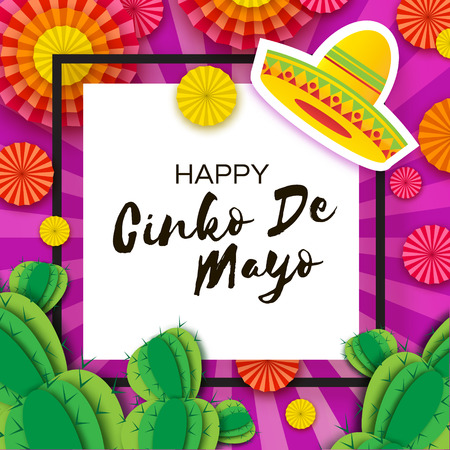 Happy Cinco de Mayo Greeting card. Colorful Paper Fan and Cactus in paper cut style. Origami Sombrero hat. Mexico, Carnival. Square frame on purple. Space for text.