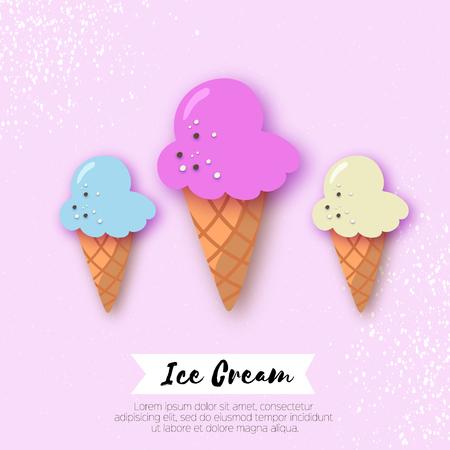 Ice-cream cones in paper cut style. Origami Melting ice cream on pink.