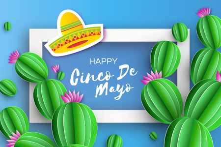 Happy Cinco de Mayo Greeting card. Sombrero hat, Cactus in paper cut style. Pink flowers and Mexico, Carnival. Rectangle frame on sky blue. Space for text. Illustration