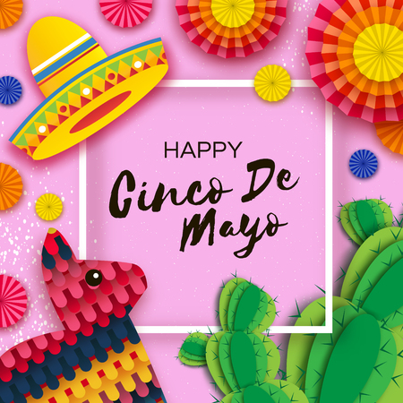 Cinco de Mayo greeting card template in paper cut style illustration.