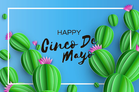 Happy Cinco de Mayo Greeting card. Pink Paper Flower and Cactus in paper cut style. Mexico, Carnival. Rectangle frame on sky blue. Space for text.