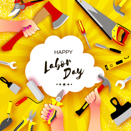 Happy Labor Day greetings card for national, international holiday. Hands workers holding tools in paper cut styl on sky yellow. Cloud frame. Space for text. Vector. Stock Illustratie