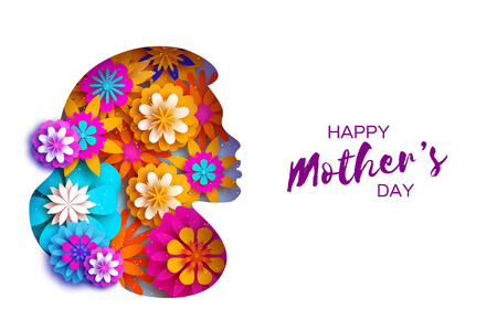Silhouette of a mother in paper cut style. Happy Mothers Day celebration. Bright Origami Flowers. Spring blossom.Space for Text. Vector