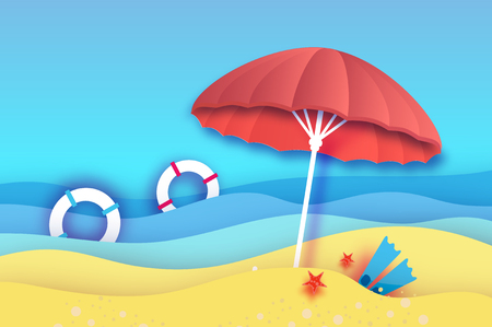 Beach with an umbrella, flippers and floaters