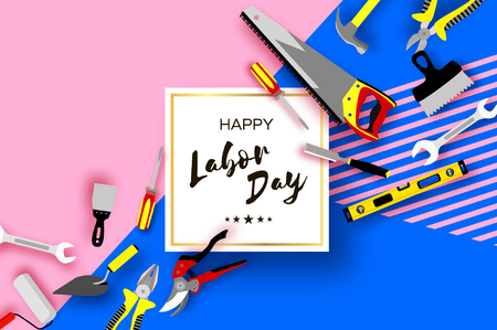 Happy Labor Day greetings card for national, international holiday. Workers tools in paper cut style on sky blue.