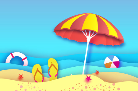 Red Yellow parasol - umbrella in paper cut style. Origami sea and beach with lifebuoy. Sport ball game. Flipflops shoes. Vacation and travel concept.