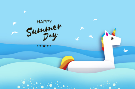 Giant inflatable Fantasy Unicorn in paper cut style. Origami Pool float toy. Crystal clear blue sea water. Summer holidays. Sunny days.