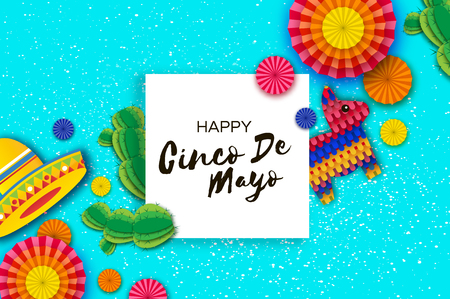 Happy Cinco de Mayo Greeting card with Colorful Paper Fan, Funny Pinata and Cactus in paper cut style.