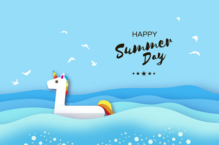 Inflatable Fantasy Unisorn in paper cut style. Origami Pool float toy. Crystal clear blue sea water. Summer holidays. Sunny days. Vector