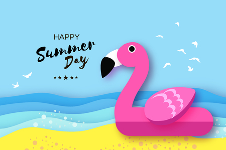 Giant inflatable pink flamingo in paper cut style. Origami Pool float toy on the sunny beach with sand and crystal clear blue sea water. Summer holidays. Illustration