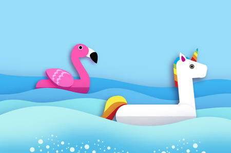 Giant inflatable Fantasy Unisorn and Pink Flamingo paper cut style. Origami Pool float toys. Crystal clear blue sea water. Summer holidays. Sunny days. Illustration