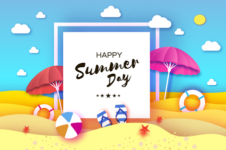 Red and pink parasol - umbrella in paper cut style. Origami sea and beach with lifebuoy. Sport ball game. Flipflops shoes. Vacation and travel concept. Square frame. Space for text. Vector
