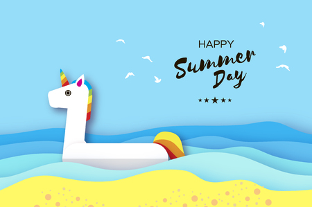 Giant inflatable Fantasy Unisorn in paper cut style. Origami Pool float toy on the sunny beach with sand and crystal clear blue sea water. Summer holidays. Sunny days. Cloud. Vector