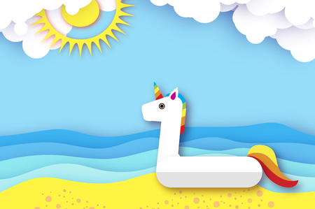 Giant inflatable Fantasy Unisorn in paper cut style. Origami Pool float toy on the sunny beach with sand and crystal clear blue sea water. Summer holidays. Sunny days. Cloud.
