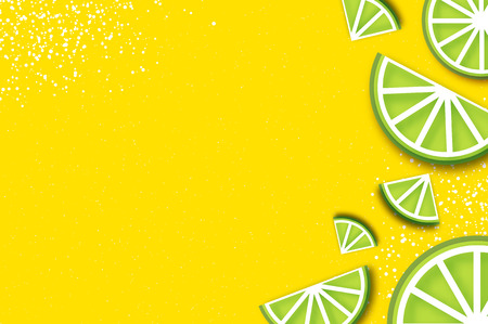 Lime in paper cut style. Origami juicy ripe lime citrus slices. Healthy food on yellow. Summertime. Illustration