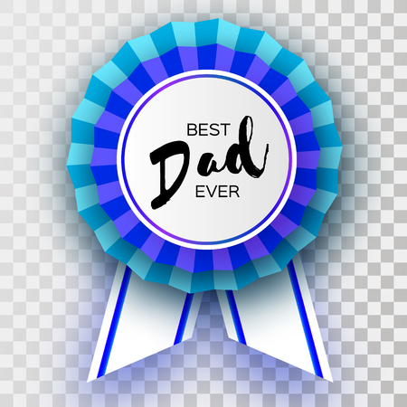 Blue Happy Fathers Day Greetings Card Best Dad Ever Badge Award
