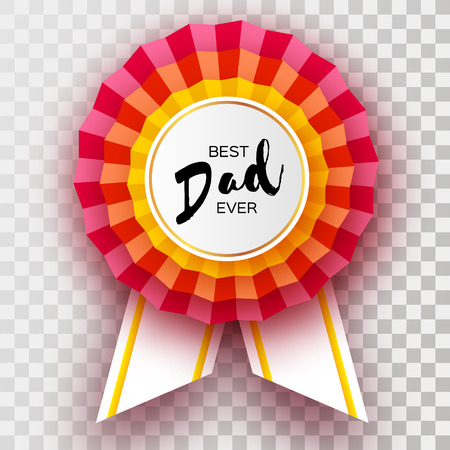 Red Happy Fathers day greetings card. Best Dad Ever Badge award in paper cut style. Origami Layered medal. Striped ribbon. Circle frame for text.