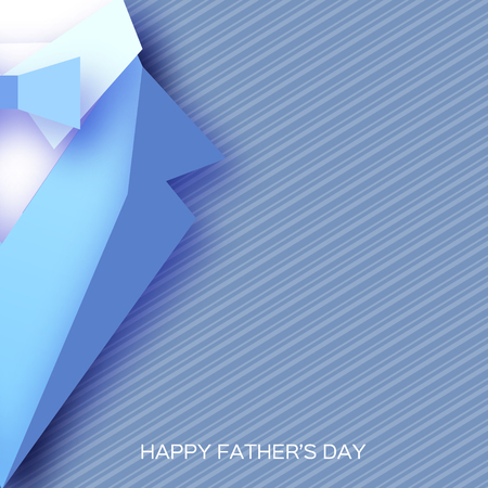 Happy Fathers Day Greeting Card. Mans jacket in paper cut style. Origami Tuxedo. Weddind suit with bow tie. Stock Illustratie