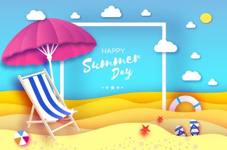 Pink parasol - umbrella in paper cut style. Pink Chaise lounge. Origami sea and beach. Sport ball game. Flipflops shoes. Lifesaver. Starfish. Vacation and travel concept.