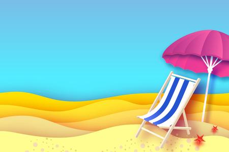 ピンクパラソル - 紙カットスタイルの傘。ブルーシェーズラウンジ。折り紙の海とビーチ。休暇と旅行のコンセプト。