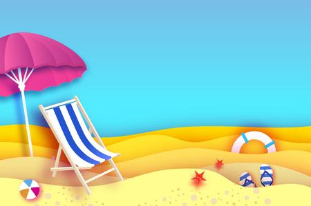 ピンクパラソル - 紙カットスタイルの傘。ブルーシェーズラウンジ。折り紙の海とビーチ。スポーツボールゲーム。フリップフロップスシューズ。ライフセーバー。ヒトデ。休暇と旅行のコンセプト。