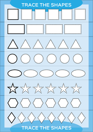Trace the shapes. Kids education. Preschool worksheet. Basic writing. Kids doing worksheets. Fine motor skills. White shapes and blue background. Square, rectangle, circle e.t.c Vector