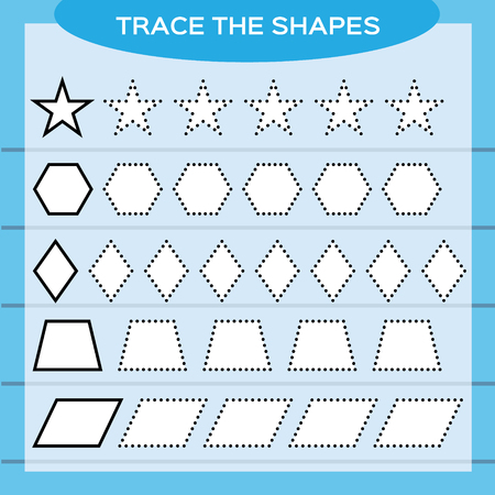 Trace the shapes. Kids education. Preschool worksheet. Basic writing. Kids doing worksheets. Fine motor skills. White shapes and blue background. Star, rhombus, hexagon e.t.c Vector Illustration