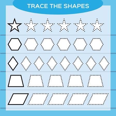 Trace the shapes. Kids education. Preschool worksheet. Basic writing. Kids doing worksheets. Fine motor skills. White shapes and blue background. Star, rhombus, hexagon e.t.c Vector