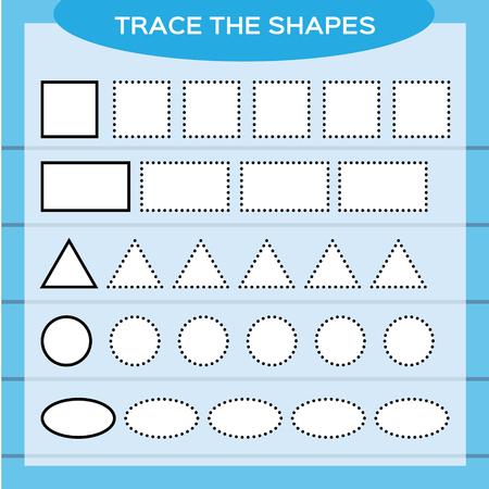 Tracez les formes. Éducation des enfants. Feuille de travail préscolaire. Ecriture de base. Enfants faisant des feuilles de travail. Dextérité. Formes blanches et fond bleu. Carré, rectangle, cercle, etc. Vecteurs