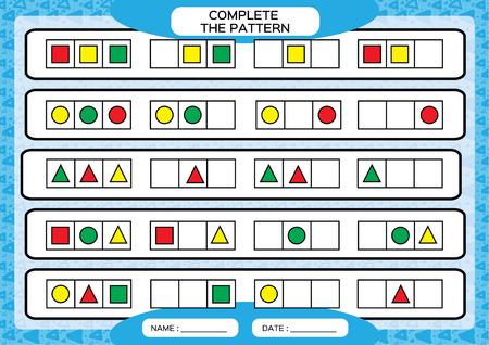 Completa semplici schemi ripetitivi. Foglio di lavoro per bambini in età prescolare. Praticare abilità motorie, migliorare compiti di abilità. Completa il motivo con 3 forme geometriche. Disegna e colora, sfondo blu. Vettoriali
