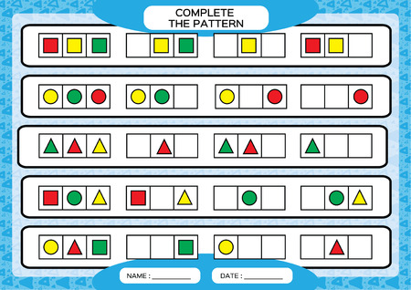 Complete simple repeating patterns. Worksheet for preschool kids. Practicing motor skills, improving skills tasks. Complete the pattern with geometrical 3 shapes. Draw and color, Blue background.