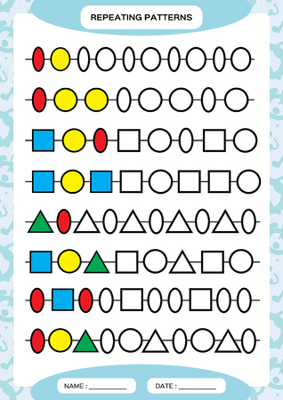 Complete repeating patterns. Worksheet for preschool kids. Practicing motor skills, improving skills tasks. Complete the pattern. Color beads. Blue background. Square, circle, oval, triangle. Vectores