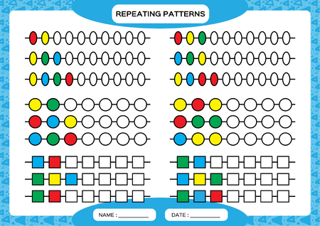 Complete repeating patterns. Worksheet for preschool kids. Practicing motor skills, improving skills tasks. Complete the pattern. Color beads. Blue background. Square, circle, oval.