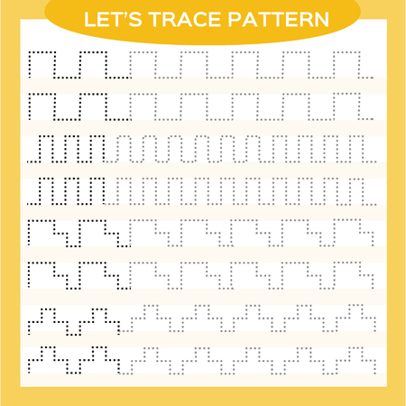 Tracing Lines Activity For Early Years. Special for preschool kids. Worksheet for practicing fine motor skills Tracing dashed lines. Improving skills tasks. Complete the pattern. Orange