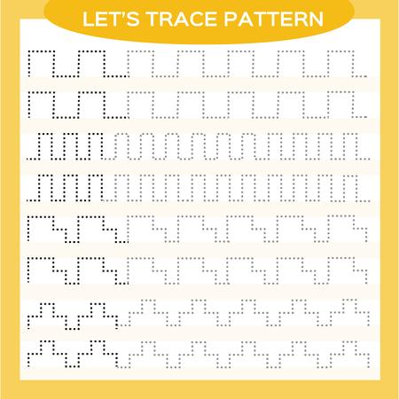 Tracing Lines-activiteit voor vroege jaren. Speciaal voor kleuters. Werkblad voor het oefenen van fijne motoriek Stippellijnen tekenen. Verbetering van vaardigheidstaken. Maak het patroon af. Oranje Vector Illustratie