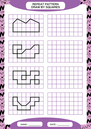 Repeat Pattern. Tracing Lines Activity, Special for preschool kids. Worksheet for practicing fine motor skills. Simple shapes. Complete the pattern. Symmetry. Purple A4 Vector