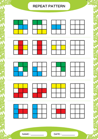Repeat pattern. Cube grid with colorfull squares. Special for preschool kids. Worksheet for practicing fine motor skills. Improving skills tasks. Green A4. Snap game.3x3 Stock Illustratie