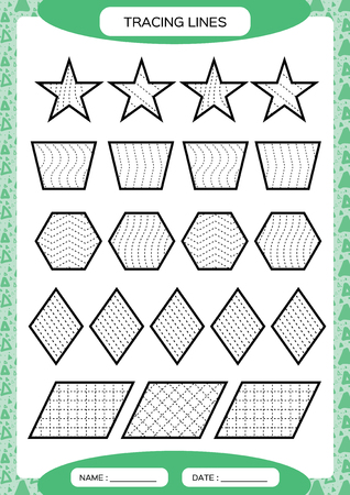 Tracing Lines. Kids education. Preschool worksheet. Basic writing. Kids doing worksheets. Fine motor skills. Waves and zigzag lines. Green background. Star, hexagonrhombusVector Vettoriali