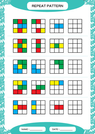 Repeat pattern. Cube grid with colorfull squares. Special for preschool kids. Worksheet for practicing fine motor skills. Improving skills tasks. Blue A4. Snap game Stock Photo