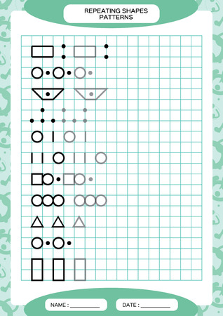 Repeat Pattern. Tracing Lines Activity, Special for preschool kids. Worksheet for practicing fine motor skills. Simple shapes. Complete the pattern. Blue A4 Stockfoto