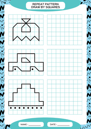 Repeat Pattern. Tracing Lines Activity, Special for preschool kids. Worksheet for practicing fine motor skills. Simple shapes. Complete the pattern. Symmetry. Blue A4 Vector
