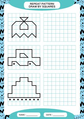 Repita el patrón. Actividad de rastreo de líneas, especial para niños en edad preescolar. Hoja de trabajo para practicar la motricidad fina. Formas simples. Completa el patrón. Simetría. Vector azul A4