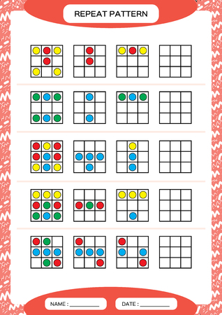 Repeat pattern. Square with colorfull circles. Special for preschool kids. Worksheet for practicing fine motor skills. Improving skills tasks. Red A4. Snap game. Illustration