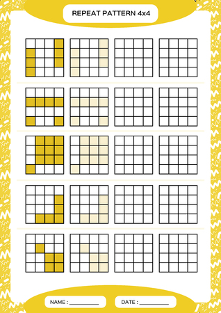 Repeat yellow pattern. Cube grid with squares. Special for preschool kids. Worksheet for practicing fine motor skills. Improving skills tasks. A4. Snap game. 4x4. 일러스트