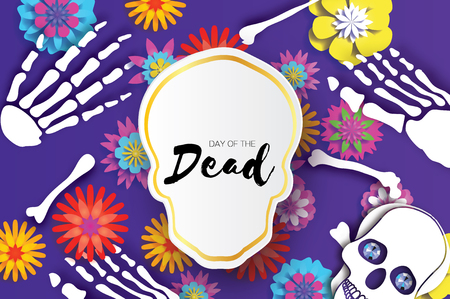 Day of the dead. Paper cut skull for mexican celebration. Traditional mexico skeleton. Blue Diamond eyes. Dia de muertos on purple. Origami cempasuchil flowers. Bones. Vector Vectores