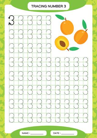 Number 3. Three Tracing Worksheet. Orange Peach fruit. Preschool worksheet, practicing motor skills - tracing dashed lines. A4 green grid. Vector Vectores