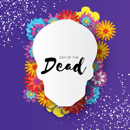 Day of the dead. Paper cut skull frame for text. Mexican celebration. Dia de muertos on purple. Origami cempasuchil flowers