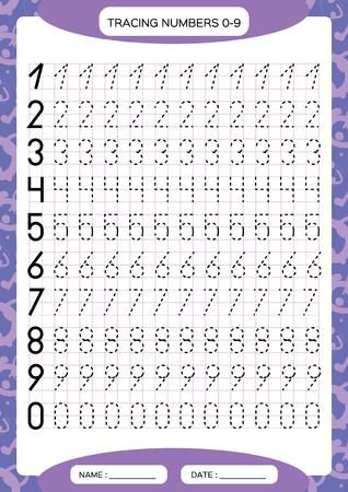 Cijfers 0-9. Tracing werkblad voor kinderen. Preschool werkblad, motorische vaardigheden oefenen - stippellijnen traceren. A4 paars raster. Vector