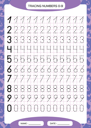 Numbers 0-9. Tracing Worksheet for kids. Preschool worksheet, practicing motor skills - tracing dashed lines. A4 purple grid. Vector Standard-Bild - 112223872